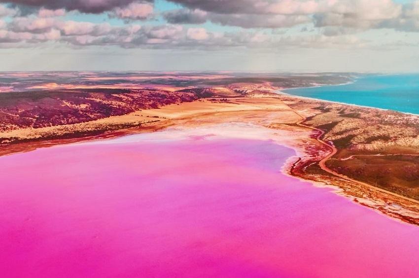 დასავლეთ ავსტრალიის თვალწარმტაცი ვარდისფერი ლაგუნა